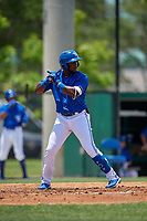 Dunedin Blue Jays Chavez Young (2) at bat during a Florida State League game against the Jupiter Hammerheads on May 16, 2019 at Jack Russell Memorial Stadium in Clearwater, Florida.  Dunedin defeated Jupiter 1-0.  (Mike Janes/Four Seam Images)
