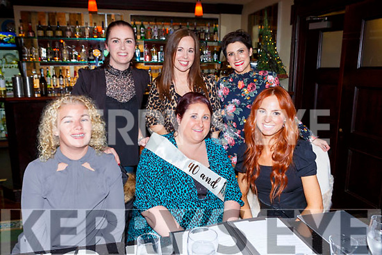 Lorraine O'Sullivan celebrated her 40th birthday with her gal pals in Lord Kenmares restaurant Killarney on Saturday night front row l-r: Alice O'Connoe, Lorraine O'Sullivan, Sinead Sorensen. Back row: Ciara Cunningham, Marian Russell, Vanessa Sorensen