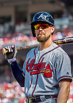 8 July 2017: Atlanta Braves outfielder Ender Inciarte stands on deck ready to face the Washington Nationals at Nationals Park in Washington, DC. The Braves shut out the Nationals 13-0 to take the third game of their 4-game series. Mandatory Credit: Ed Wolfstein Photo *** RAW (NEF) Image File Available ***