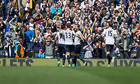 Harry Kane of Tottenham Hotspur celebrates scoring his side's third goal during the Premier League match between Tottenham Hotspur and Bournemouth at White Hart Lane, London, England on 15 April 2017. Photo by Mark  Hawkins / PRiME Media Images.