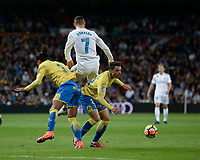 Real Madrid's Cristiano Ronaldo  and UD Las Palmas' Mauricio Lemos and Ximo Navarro during La Liga match. November 5,2017. (ALTERPHOTOS/Inma Garcia)