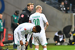 06.10.2019, Commerzbankarena, Frankfurt, GER, 1. FBL, Eintracht Frankfurt vs. SV Werder Bremen, <br /> <br /> DFL REGULATIONS PROHIBIT ANY USE OF PHOTOGRAPHS AS IMAGE SEQUENCES AND/OR QUASI-VIDEO.<br /> <br /> im Bild: Florian Kohlfeldt (Trainer, SV Werder Bremen), Davy Klaassen (SV Werder Bremen #30)<br /> <br /> Foto © nordphoto / Fabisch
