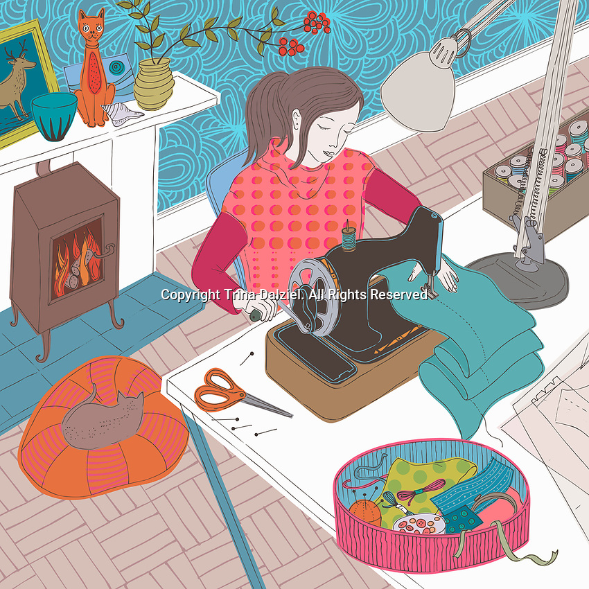 Young woman using sewing machine in cozy living room