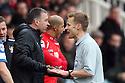 Peterborough manager Darren Ferguson and referee Michael Jones exchange opinions<br />  - Peterborough United v Stevenage - Sky Bet League One - London Road, Peterborough - 23rd November 2013. <br /> © Kevin Coleman 2013