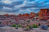 March 14, 2018: The evening's last rays illumine the juniper and pinyon pines that dot the canyon floors as winter storm clouds brew over The Needles District, Canyonlands National Park, Utah.