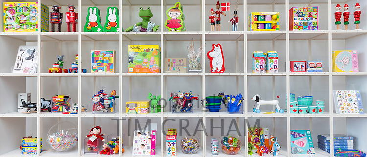 Children's toys souvenirs Moomin by Tove Jansson, Miffy by Dick Bruna characters in shop, Arken Museum of Modern Art Denmark