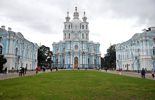 "St. Petersburg, Russia - August 15, 2009 -- Smolny Convent, built using ""whipped cream"" architecture designed by the Italian architect Rastrelli and built in the middle 18th century in St. Petersburg, Russia on Saturday, August 15, 2009..Credit: Ron Sachs / CNP"