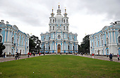 """St. Petersburg, Russia - August 15, 2009 -- Smolny Convent, built using """"whipped cream"""" architecture designed by the Italian architect Rastrelli and built in the middle 18th century in St. Petersburg, Russia on Saturday, August 15, 2009..Credit: Ron Sachs / CNP"""