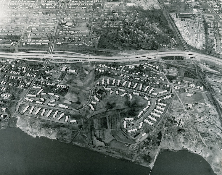 1968 March 20..Assisted Housing.Grandy Village...Aerial view looking North..Sam McKay.NEG# SLM68-19-14.NRHA# 4011.