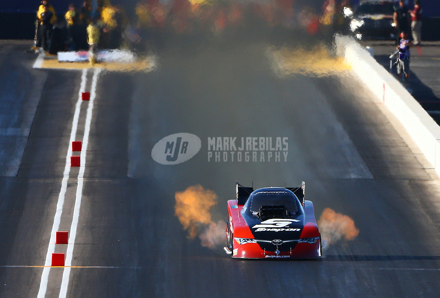 Feb 26, 2016; Chandler, AZ, USA; NHRA funny car driver Cruz Pedregon during qualifying for the Carquest Nationals at Wild Horse Pass Motorsports Park. Mandatory Credit: Mark J. Rebilas-