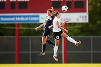 Portland Thorns forward Alex Morgan (13) goes up for a header with Sky Blue FC defender Christie Rampone (3) during a National Women's Soccer League (NWSL) match at Yurcak Field in Piscataway, NJ, on June 22, 2013.