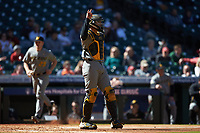 Missouri Tigers catcher Chad McDaniel (20) lets his defense know there are two outs during the game against the Baylor Bears in game one of the 2020 Shriners Hospitals for Children College Classic at Minute Maid Park on February 28, 2020 in Houston, Texas. The Bears defeated the Tigers 4-2. (Brian Westerholt/Four Seam Images)