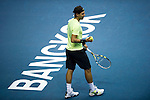 BANGKOK, THAILAND - SEPTEMBER 30:  Rafael Nadal of Spain prepares to serve against Ruben Bemelmans of Belgium during the Day 6 of the PTT Thailand Open at Impact Arena on September 30, 2010 in Bangkok, Thailand. Photo by Victor Fraile / The Power of Sport Images