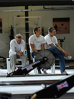 Reading, GREAT BRITAIN, Reflections, left, Alex PARTRIDGE, Steve ROWBOTHAM and Matt LANGRIDGE, watch the PC at the GB Rowing 2007 FISA World Cup Team Announcement, at the GB Training centre, Caversham, England on Thur. 26.04.2007  [Photo, Peter Spurrier/Intersport-images]..... , Rowing course: GB Rowing Training Complex, Redgrave Pinsent Lake, Caversham, Reading