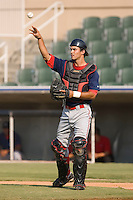 Catcher Will Vazquez (10) of the Greenville Drive throws the ball back to his pitcher at Fieldcrest Cannon Stadium in Kannapolis, NC, Sunday August 10, 2008. (Photo by Brian Westerholt / Four Seam Images)