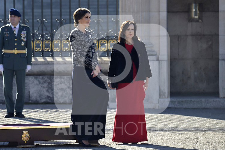 Queen Letizia of Spain and Margarita Robles attends to Pascua Militar at Royal Palace in Madrid, Spain. January 06, 2019. (ALTERPHOTOS/Pool)