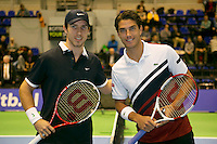 22-12-13,Netherlands, Rotterdam,  Topsportcentrum, Tennis Masters, Final men Igor Sijsling(NED)(L) and Jesse Huta Galung (NED)<br /> Photo: Henk Koster