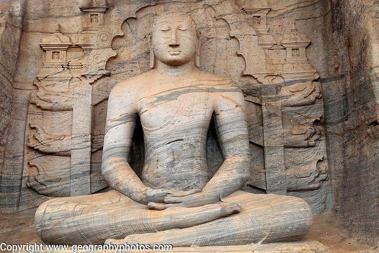 Seated Buddha figure, Gal Viharaya, UNESCO World Heritage Site, the ancient city of Polonnaruwa, Sri Lanka