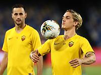 5th July 2020; Stadio San Paolo, Naples, Campania, Italy; Serie A Football, Napoli versus Roma; Nicolo Zaniolo of AS Roma during warm up