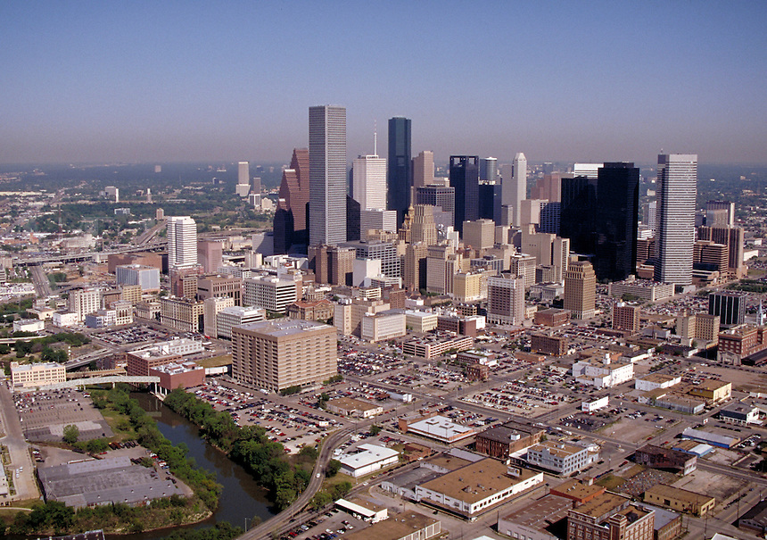 Skyline; city; office buildings; day; aerial. Houston Texas.