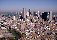 Skyline; city; office buildings; day; aerial. Houston Texas.