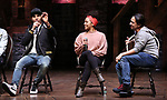 """Anthony Lee Medina, Sasha Hollinger with Lin-Manuel Miranda making a surprise appearance during a Q & A before The Rockefeller Foundation and The Gilder Lehrman Institute of American History sponsored High School student #EduHam matinee performance of """"Hamilton"""" at the Richard Rodgers Theatre on 3/20/2019 in New York City."""