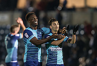 Anthony Stewart of Wycombe Wanderers with double goalscorer Scott Kashket of Wycombe Wanderers during the Sky Bet League 2 match between Wycombe Wanderers and Hartlepool United at Adams Park, High Wycombe, England on 26 November 2016. Photo by Andy Rowland / PRiME Media Images.