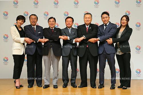 (L to R) Christel Takigawa, Toshiaki Yoshino, Masato Mizuno,  Naoki Inose, Yoshiro Mori, Yuki Ota, Mami Sato, <br /> September 10, 2013  : <br /> International Olympic Committee (IOC) session return home press conference <br /> in Shinjuku, Tokyo, Japan. <br /> (Photo by Daiju Kitamura/AFLO SPORT)
