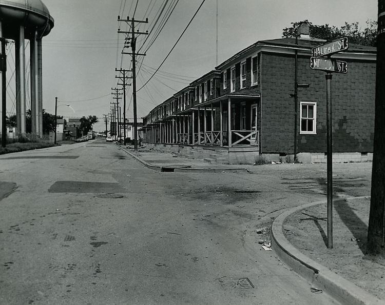 1969 May 20..Redevelopment...Bell-Diamond (A-1-3)..Berkley.Looking down Halifax Street from corner of Halifax Street and Mason Street..Dennis Winston.NEG# DRW69-21-63.NRHA# ..