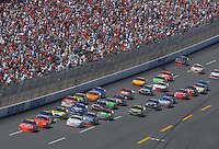 Apr 29, 2007; Talladega, AL, USA; Nascar Nextel Cup Series driver Jeff Gordon (24) leads the field during the Aarons 499 at Talladega Superspeedway. Mandatory Credit: Mark J. Rebilas.