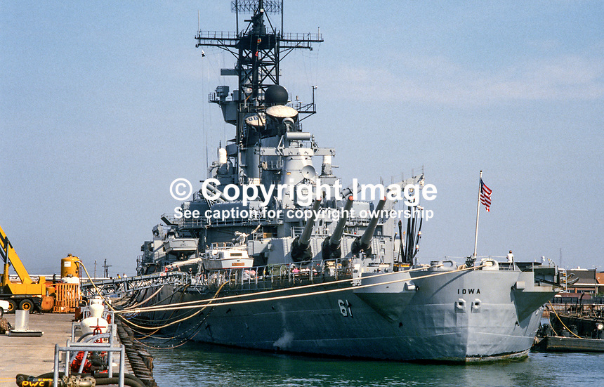 US battleship, IOWA, moored at USA Naval Base, Norfolk, Virginia. 19880504IOWA..Copyright Image from Victor Patterson, 54 Dorchester Park, Belfast, UK, BT9 6RJ..Tel: +44 28 9066 1296.Mob: +44 7802 353836.Voicemail +44 20 8816 7153.Skype: victorpattersonbelfast.Email: victorpatterson@me.com.Email: victorpatterson@ireland.com (back-up)..IMPORTANT: If you wish to use this image or any other of my images please go to www.victorpatterson.com and click on the Terms & Conditions. Then contact me by email or phone with the reference number(s) of the image(s) concerned.