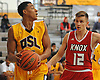 Jared Rhoden #15 of Our Saviour Lutheran (Bronx), left, looks to pass as Laurynas Stonkus of The Knox School (St. James) guards him during a non-league game in the inaugural Empire Invitational at Adelphi University on Saturday, Jan. 7, 2017. Lutheran defeated Knox by a score of 74-66.