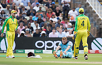 Jonny Bairstow (England) pulled up sharply with what appeared a groin strain during Australia vs England, ICC World Cup Semi-Final Cricket at Edgbaston Stadium on 11th July 2019