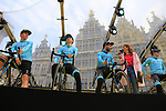 Astana Pro Team presented on stage at the team presentation in Antwerp before the start of the 2019 Ronde Van Vlaanderen 270km from Antwerp to Oudenaarde, Belgium. 7th April 2019.<br /> Picture: Eoin Clarke | Cyclefile<br /> <br /> All photos usage must carry mandatory copyright credit (&copy; Cyclefile | Eoin Clarke)