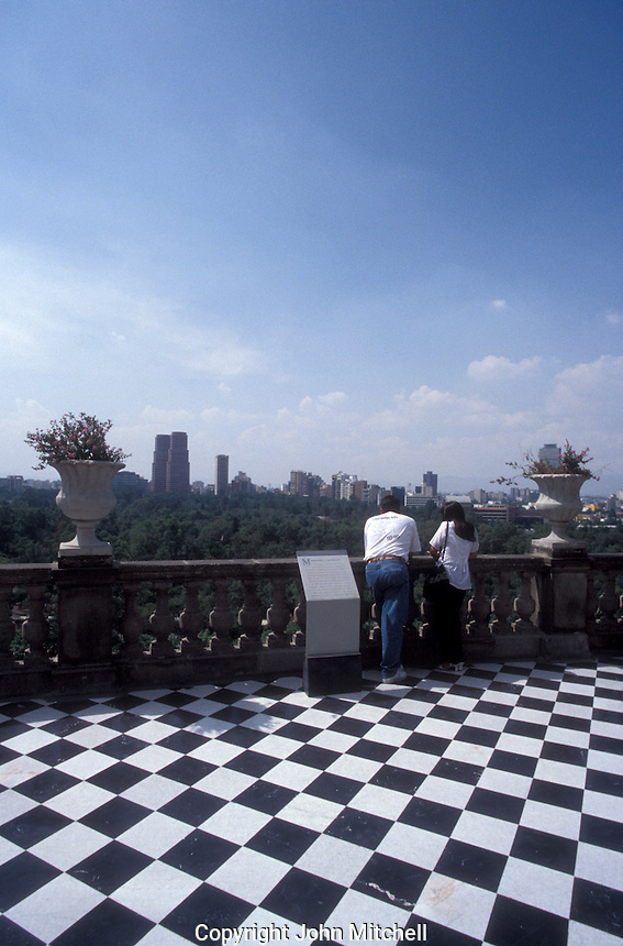 View of Mexico City skyline from Chapultepec Castle or Castillo de Chapulptpec in Mexico City. This historical building houses the National Museum of History.
