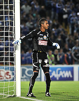 BOGOTA- COLOMBIA -19 -02-2014: Jose Cuadrado, portero  de Once Caldas durante partido de la sexta fecha de la Liga Postobon I 2014, jugado en el Nemesio Camacho El Campin de la ciudad de Bogota. / Jose Cuadrado, goalkeeper of Once Caldas during a match for the sixth date of the Liga Postobon I 2014 at the Nemesio Camacho El Campin Stadium in Bogota city. Photo: Luis Ramirez / Staff