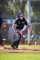 St. Bonaventure Bonnies catcher Tommy LaCongo (11) watches a popup during a game against the Dartmouth Big Green on February 25, 2017 at North Charlotte Regional Park in Port Charlotte, Florida.  St. Bonaventure defeated Dartmouth 8-7.  (Mike Janes/Four Seam Images)