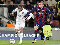 FC Barcelona's Jeremy Mathieu (r) and Paris Saint-Germain's Lucas during Champions League 2014/2015 match.December 10,2014. (ALTERPHOTOS/Acero) /NortePhoto