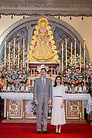 ALMONTE, SPAIN - FEBRUARY 14: ***NO SPAIN*** King Felipe VI and Queen Letizia of Spain visit the Parish of Nuestra Señora de la Asuncion during the 50th anniversary commemoration of Doñana National Park at the Salvador Távora Theater in Almonte (Huelva) on February 14, 2020 in Almonte, Spain. Credit: Jimmy Olsen/MediaPunch