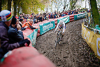 U23 World Champion Wout Van Aert (BEL/Vastgoedservice - Golden Palace) descending at high speed on the trickiest part of the course<br /> <br /> Superprestige Gavere 2014