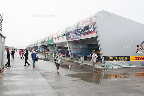 The hangar area at the 2015 Red Bull Air Race on May 16th, 2015 in Chiba, Japan.<br /> This is the first time the Red Bull Air Race has been held in Japan and some 120,000 spectators attended the the race weekend. (Photo by Michael Steinebach/Aflo)