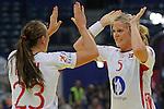 BELGRADE, SERBIA - DECEMBER 16: Ida Alstad (R) and Camilla Herrem (L) of Norway celebrates the goal during the Women's European Handball Championship 2012 gold medal match between Norway and Montenegro at Arena Hall on December 16, 2012 in Belgrade, Serbia. (Photo by Srdjan Stevanovic/Getty Images)