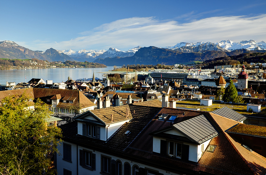 Lucerne city skyline, Lucerne, Switzerland, Europe