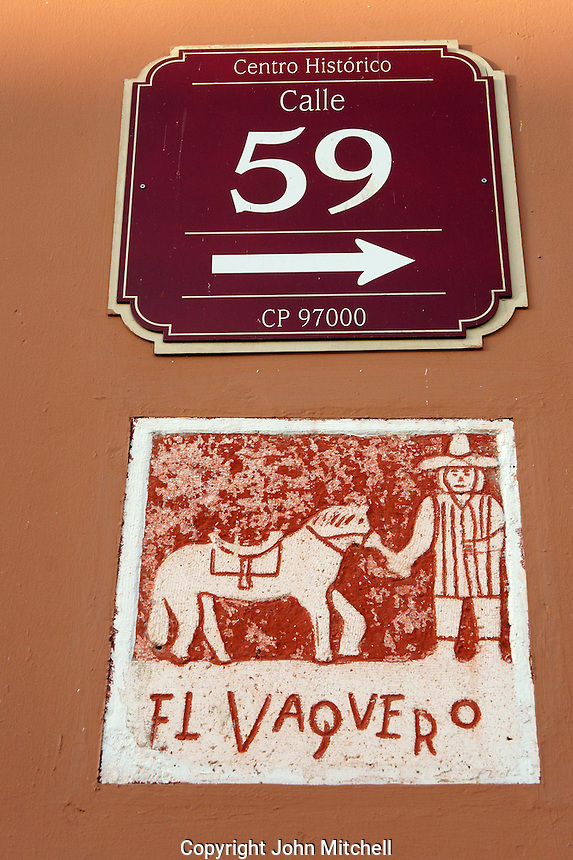 Plaster plaque on the corner of a street in Merida, Yucatan, Mexico.