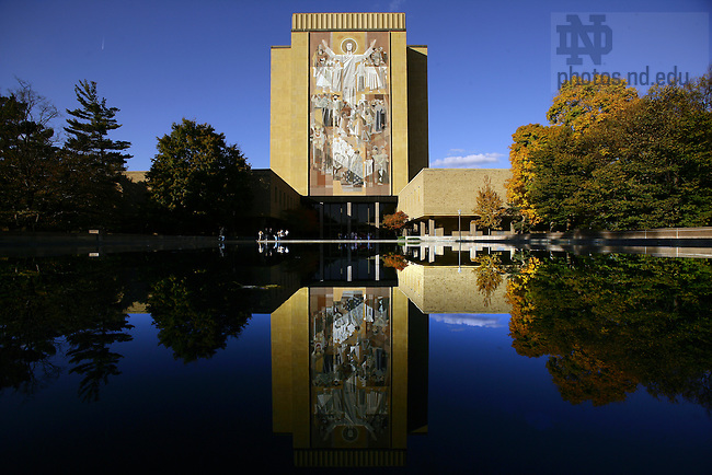 Hesburgh Library with reflecting pool.<br /> <br /> Photo by Matt Cashore/University of Notre Dame