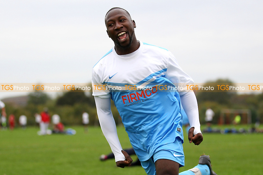 Clapton Rangers score their first goal and celebrate - Clapton Rangers (blue/white) vs London Meteors - Hackney & Leyton Sunday League Football at South Marsh, Hackney , London - 26/10/14 - MANDATORY CREDIT: Gavin Ellis/TGSPHOTO - Self billing applies where appropriate - contact@tgsphoto.co.uk - NO UNPAID USE