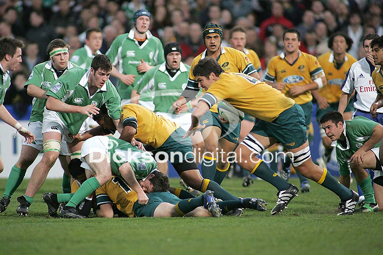 Australian second row Rob Simons sets up an Aussie attack against Ireland in the Division A U19 World Championship clash at Ravenhill.