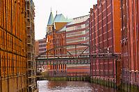 Canal on Auf Dem Sande in Speicherstadt (Warehouse District), Hafen City (along the harbor), Hamburg, Germany