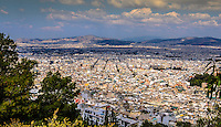 Fine Art Landscape Photograph of the city skyline in Athens, Greece.