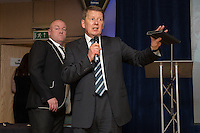 Journalist and television presenter Bill Turnbull (right) calls the raffle numbers during the Wycombe Wanderers End of Season 2016 Awards Dinner at Adams Park, High Wycombe, England on 1 May 2016. Photo by David Horn